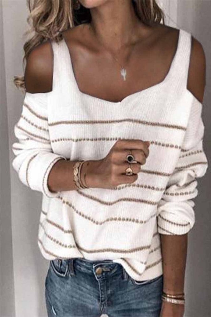 Florcoo Solid Color Square Neck Striped Off-Shoulder Sweater