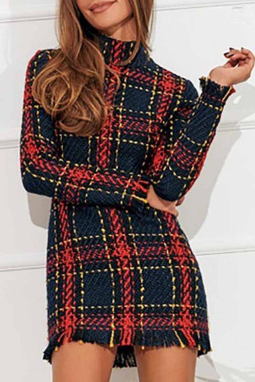 Florcoo Plaid Striped Slim Dress