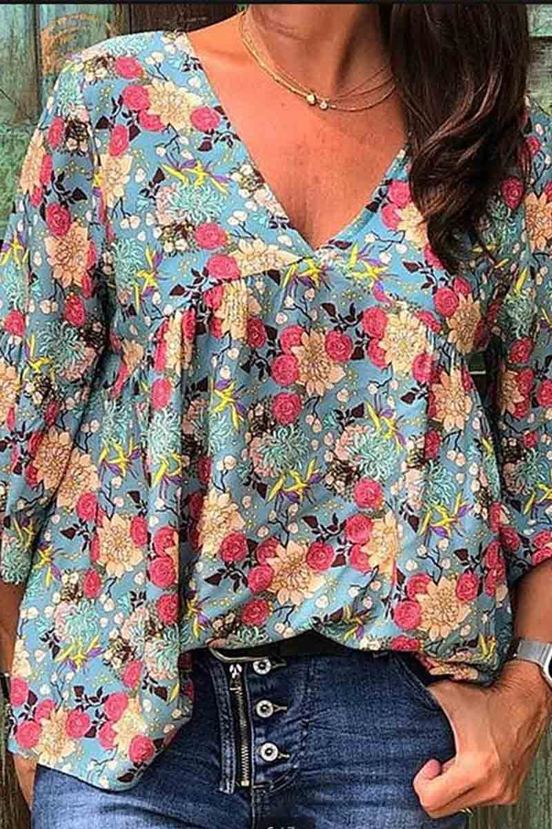 Florcoo Floral Loose Blouse