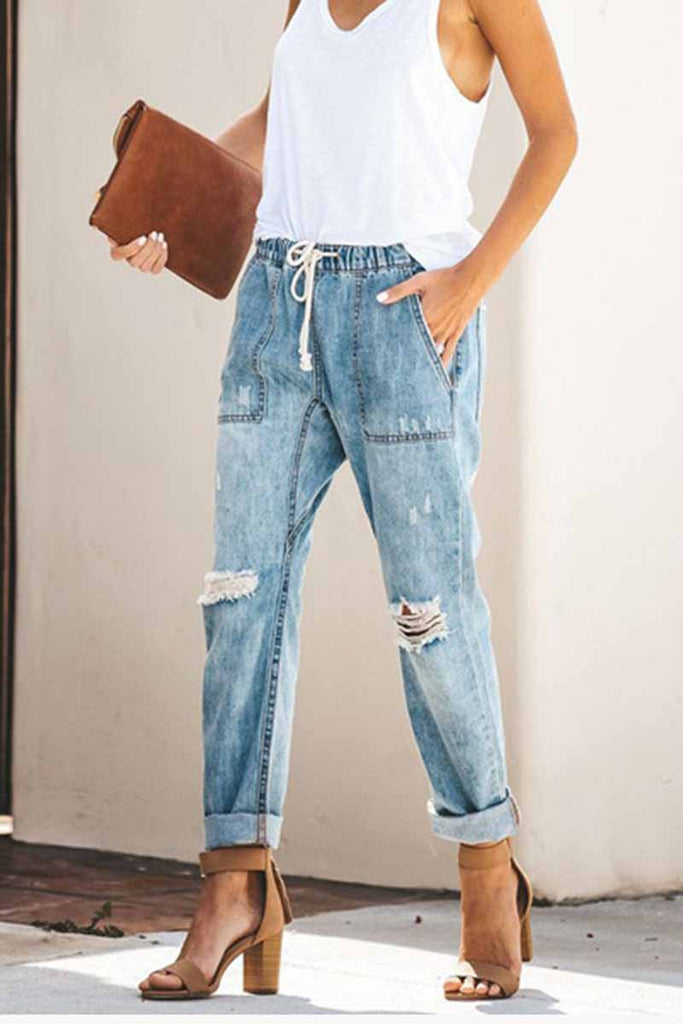 Florcoo Loose Drawstring Blue Jeans