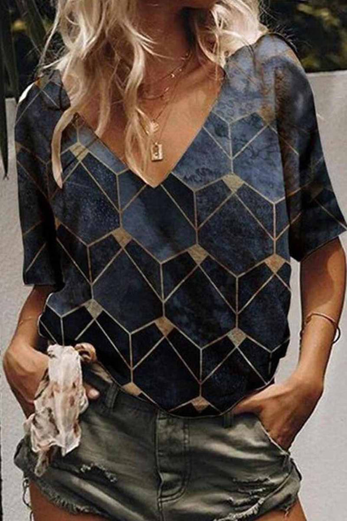 Florcoo Geometric Print Pattern V-Neck Short Sleeves Tops