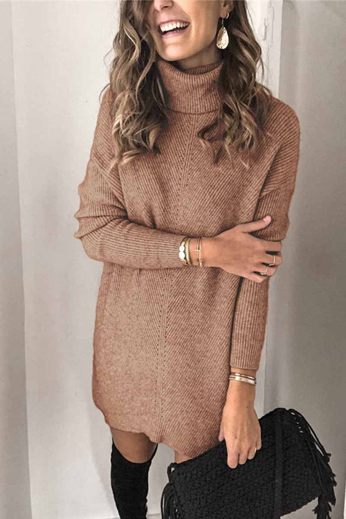 Florcoo Casual Turtleneck Midi Dress