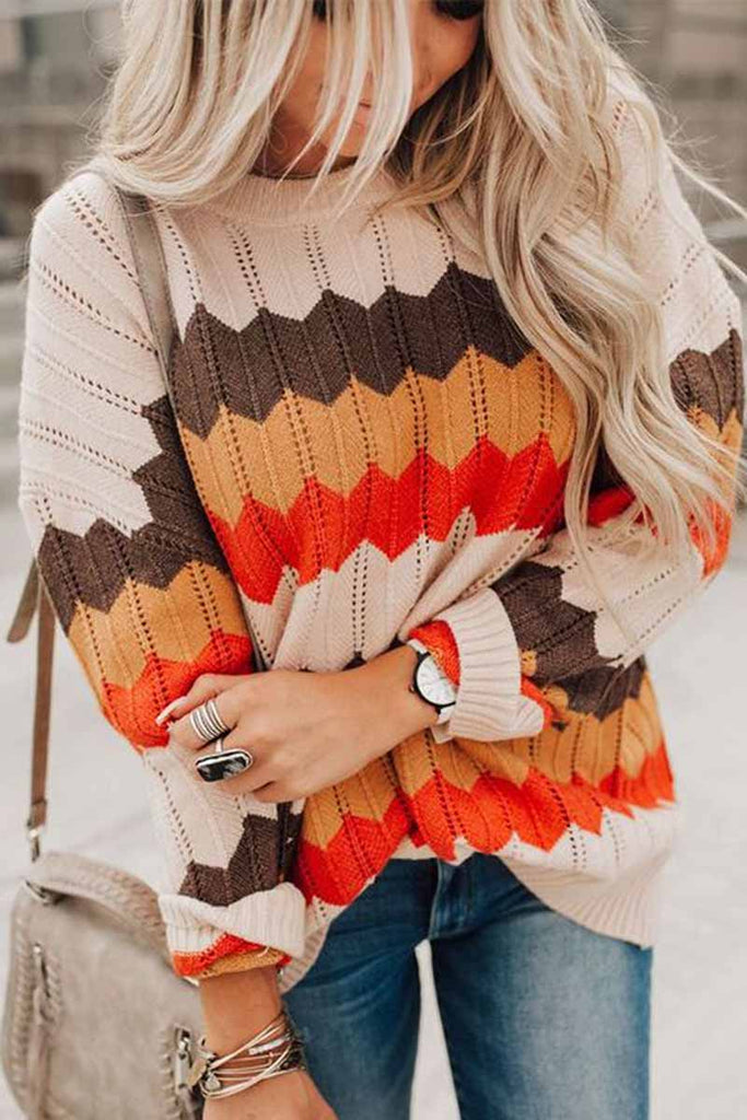 Florcoo Casual Striped Contrast Sweater