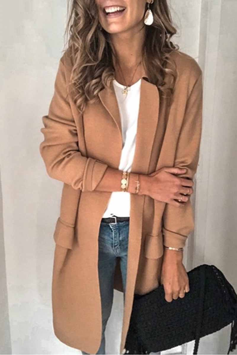 Florcoo Solid Color Long Sleeve blazer
