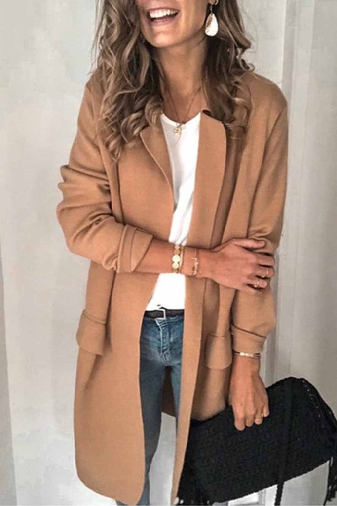 Florcoo Solid Color Long Sleeve Casual Coat