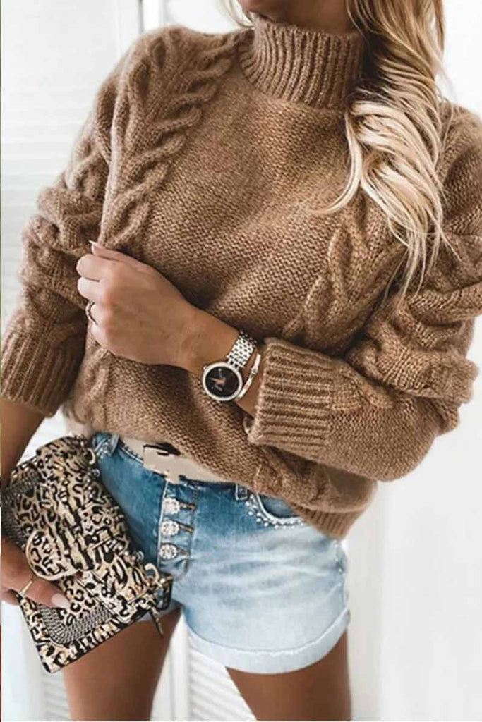 Florcoo Pure Color Turtleneck Knitted Casual Sweater