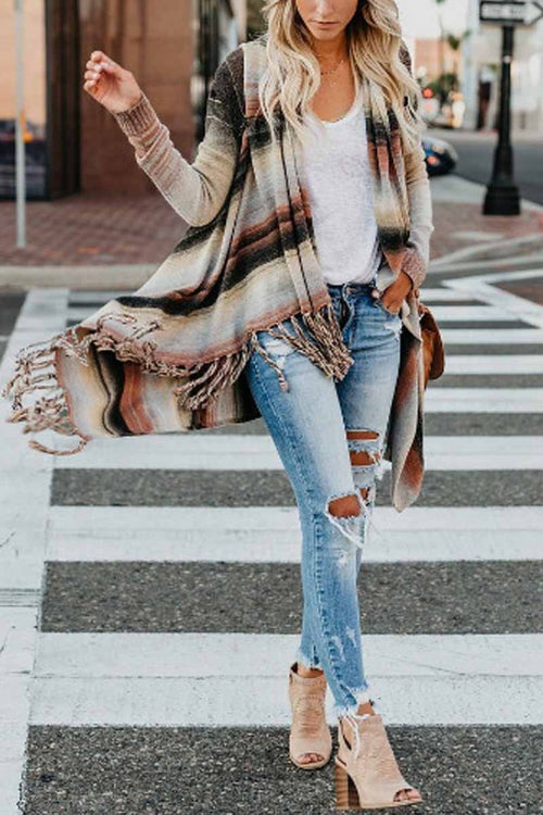 Florcoo Tassel Cardigan Sweater Tops