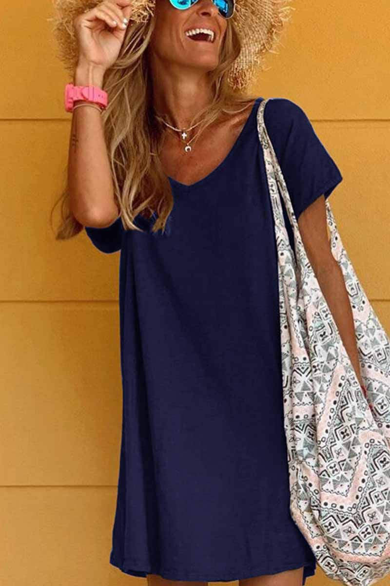 Florcoo Loose Solid Color Short Sleeve V-Neck Mini Dress