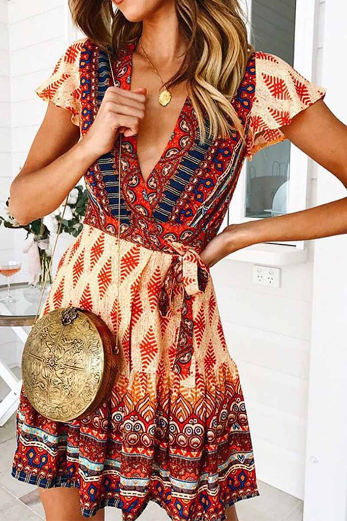 Florcoo Spring And Summer Fashion Retro V-Neck Print Short Sleeves Mini Dress