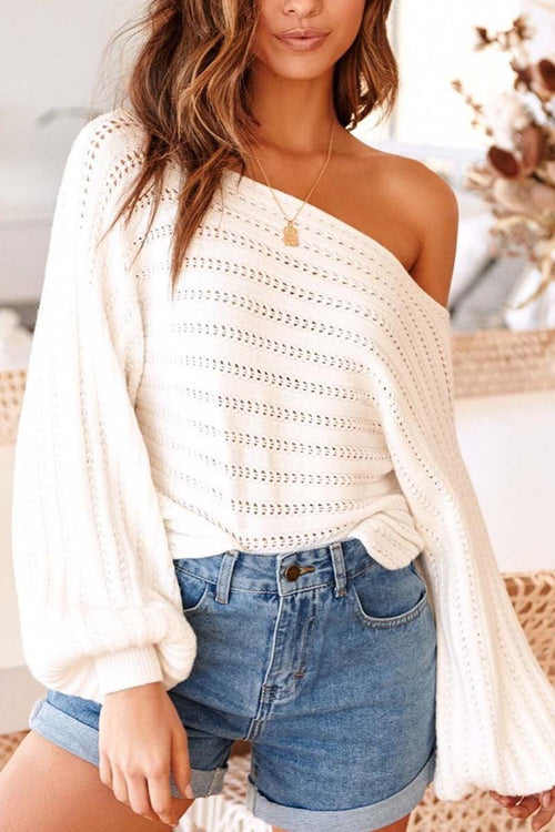 Florcoo Off Shoulder Lantern Sleeve Sexy Sweaters