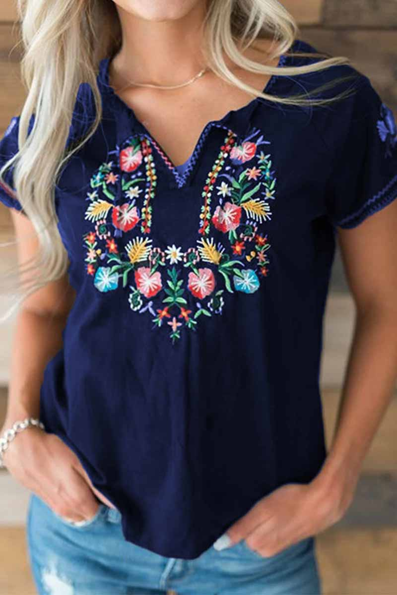 Florcoo Spring And Summer Retro Embroidery Short Sleeves Tops