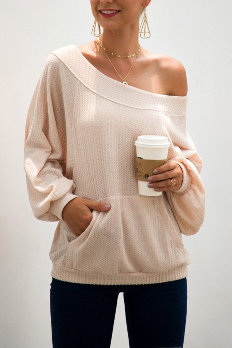 Florcoo Loose Knitting Pocket Pullover Dew-Shoulder Tops(2 Colors)