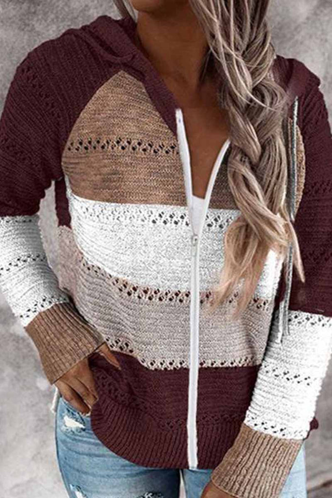 Florcoo Contrast Color Knitted Zipper Lightweight Hoodie