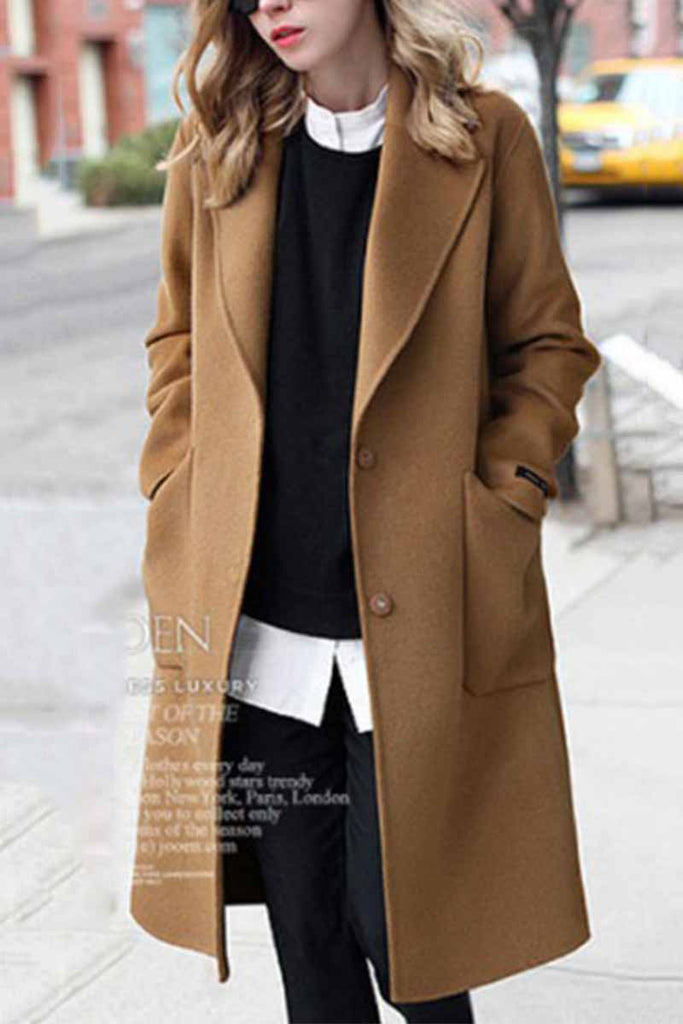 Florcoo Loose Thick Solid Color Coat
