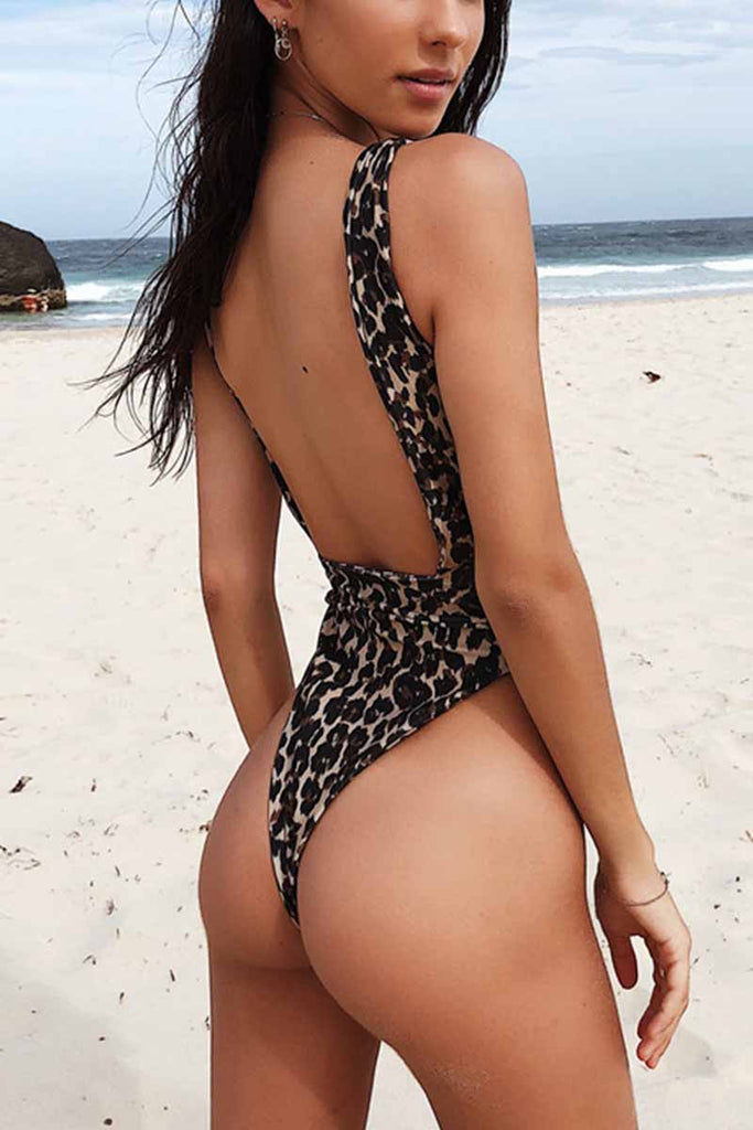 Florcoo One-piece Leopard Print Swimsuit