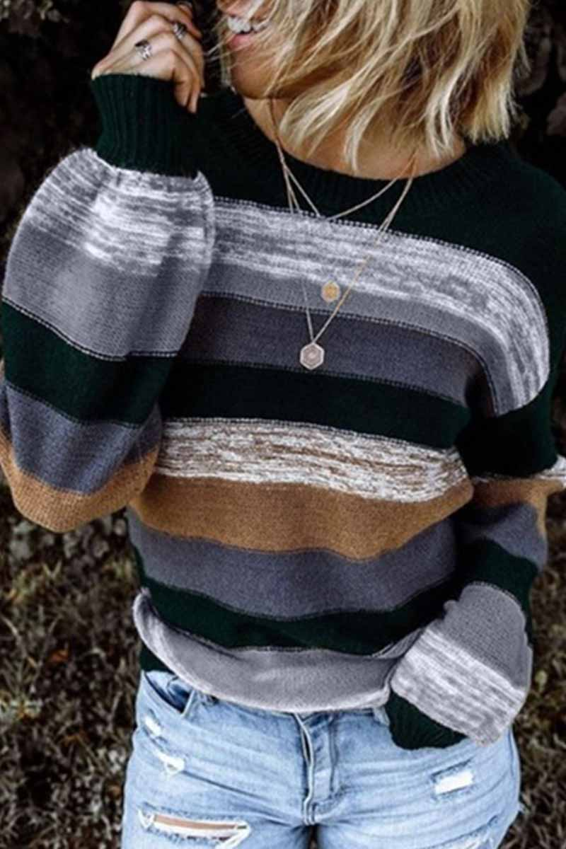 Florcoo Contrasting Loose Striped Knitted Sweater