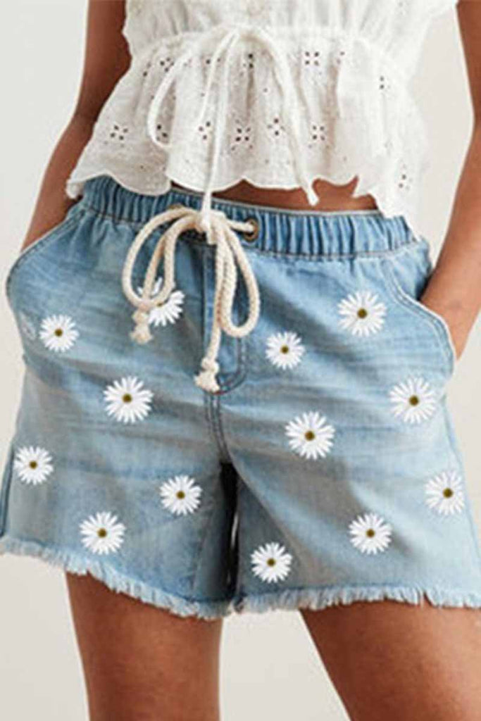 Florcoo Printed Elastic Waist Three-Point Low Stretch Ladies Denim Shorts