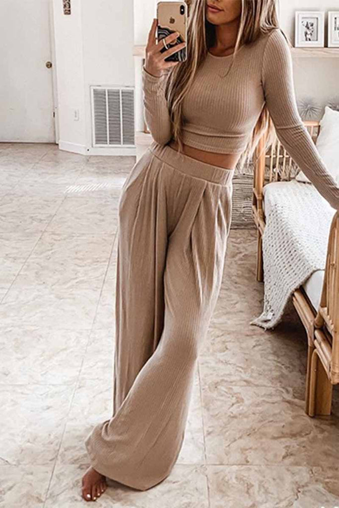 Florcoo Two-Piece Round Neck Solid Color Long Sleeves Wide Legs