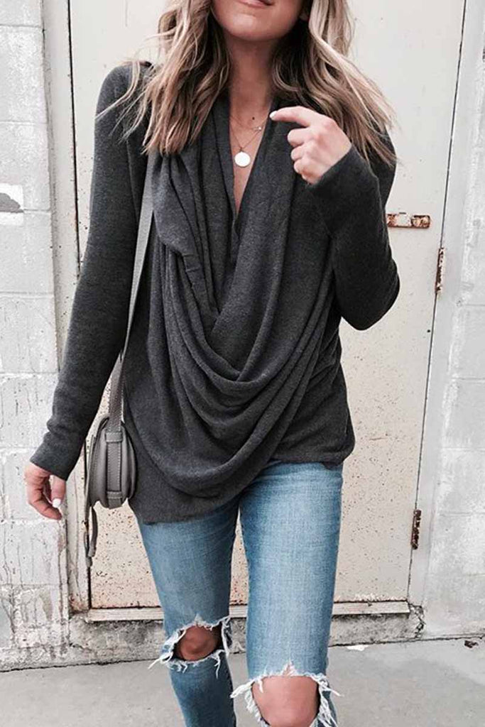 Florcoo Solid Long Sleeve Drape Top