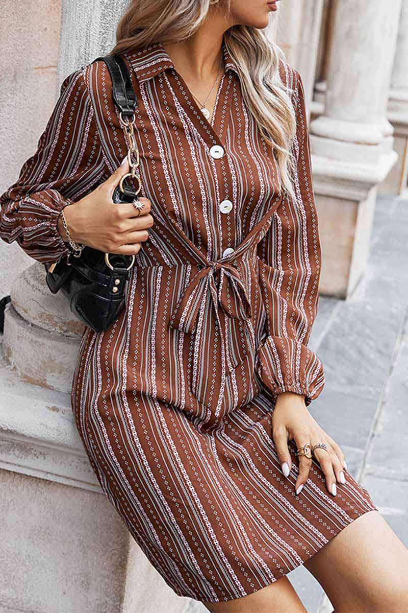 Florcoo Loose Classic Striped Shirt Mini Dress