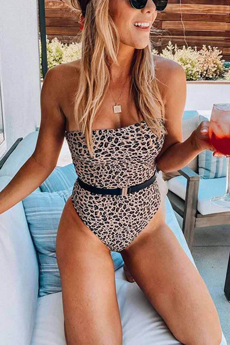 Florcoo Leopard Print Tube Top One-Piece Swimsuit