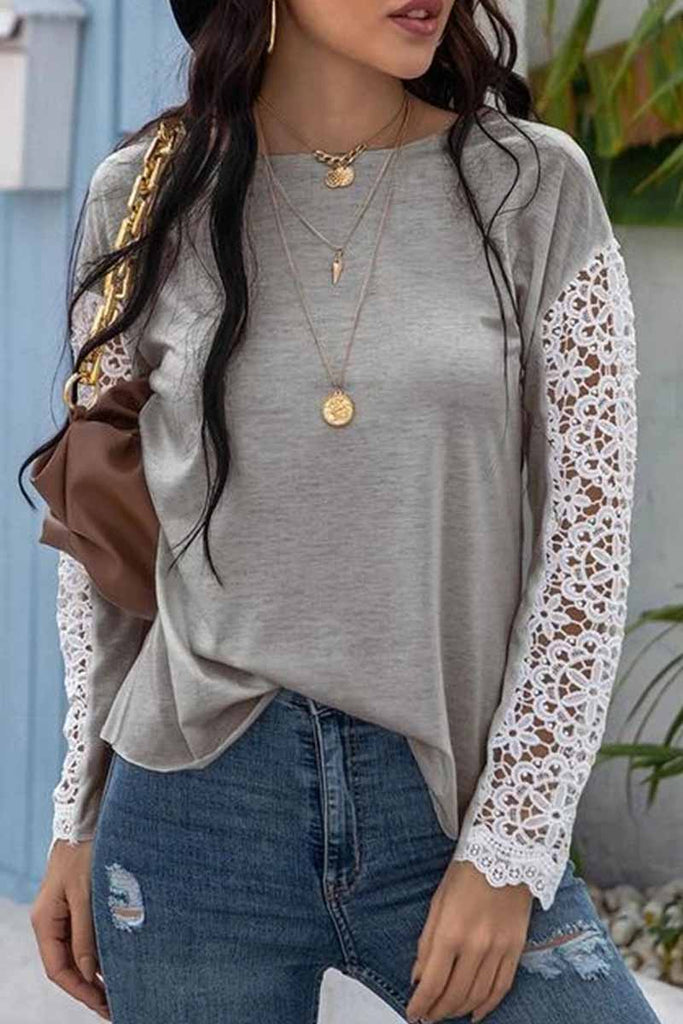 Florcoo Lace Stitching Long Sleeve Bottoming Shirt Tops