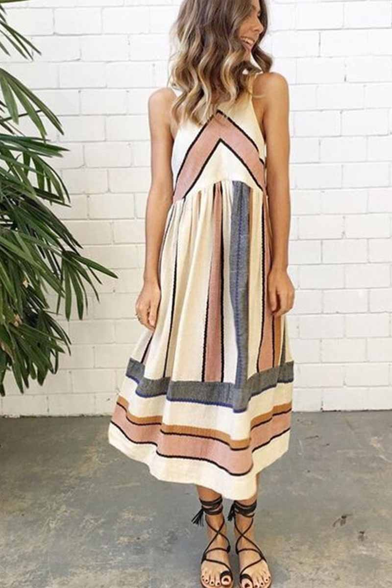Florcoo Fashion Big Room Strip Printing Midi Dress