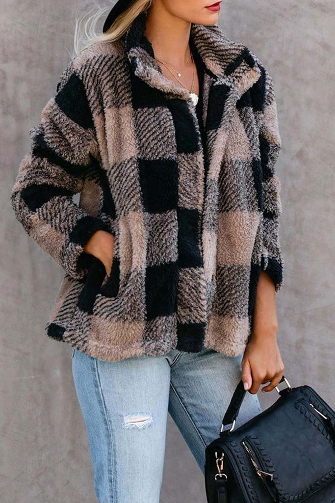 Florcoo Plush Plaid Lapel Top Jacket