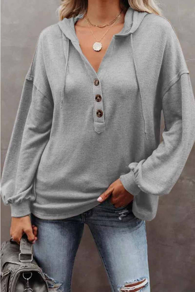 Florcoo Solid color fashion hooded drawstring sweatshirt Tops