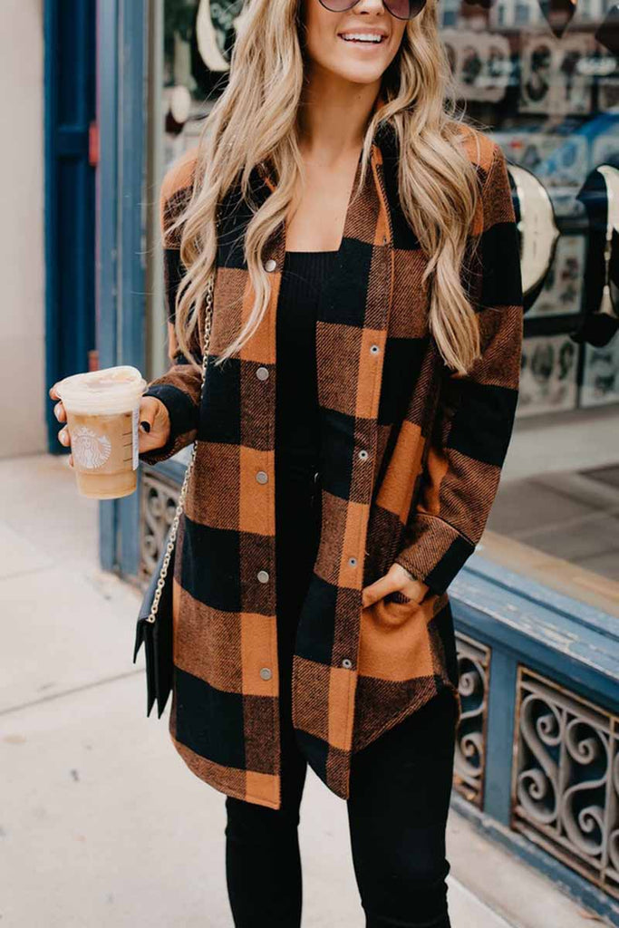 Florcoo Contrast Plaid Coat
