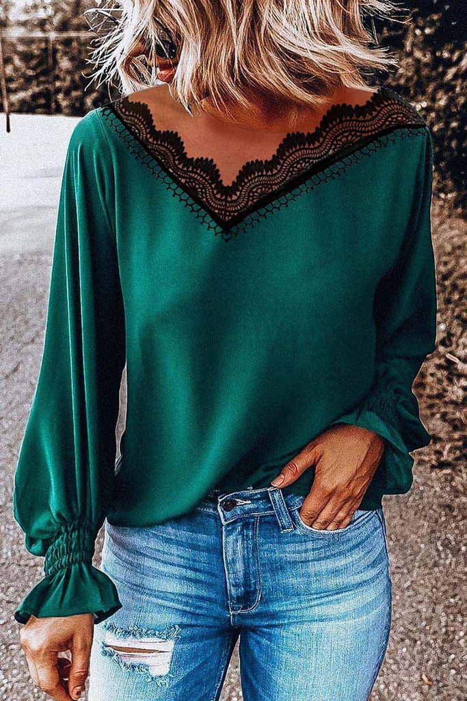 Florcoo Lace V-Neck Long Sleeve Tops