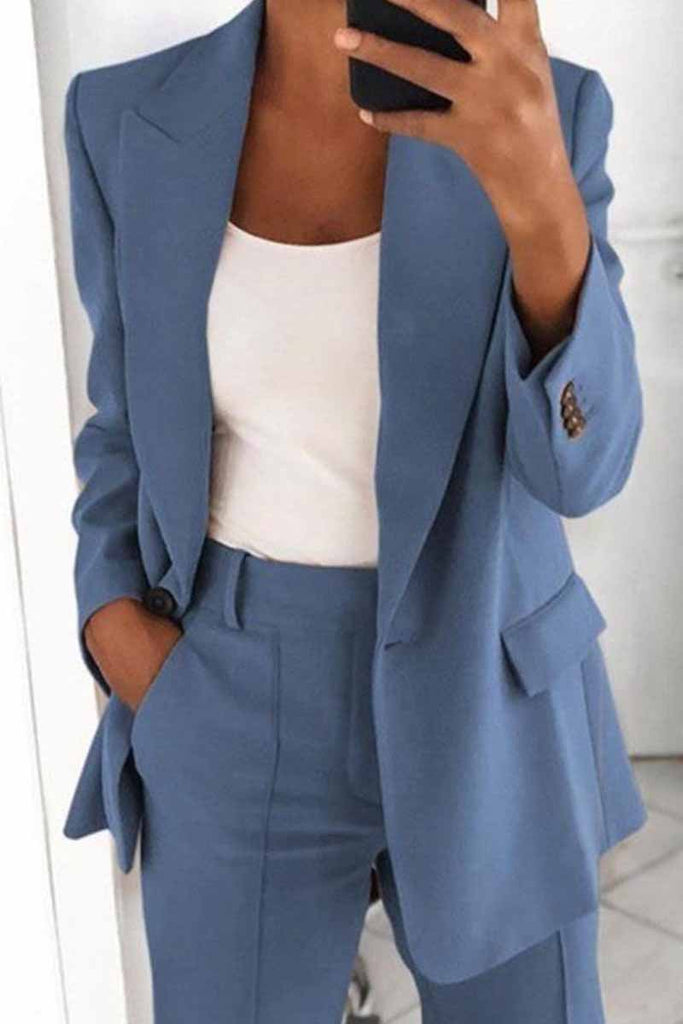 Florcoo Two-Piece Fashion Lapel Slim Cardigan Blazer