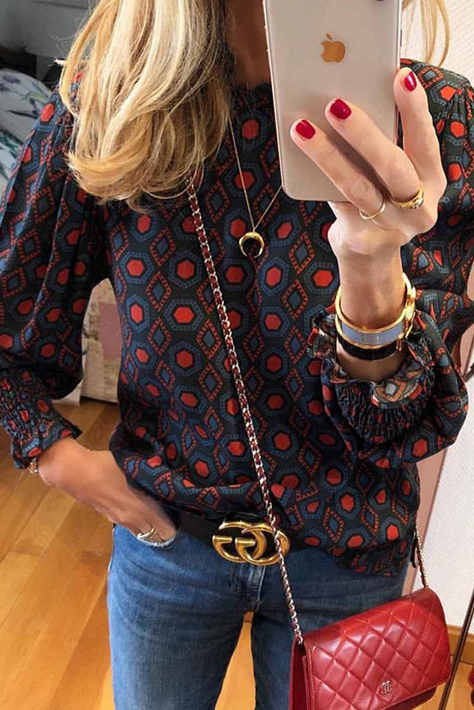 Florcoo Geometric Pattern Long Sleeve Blouse