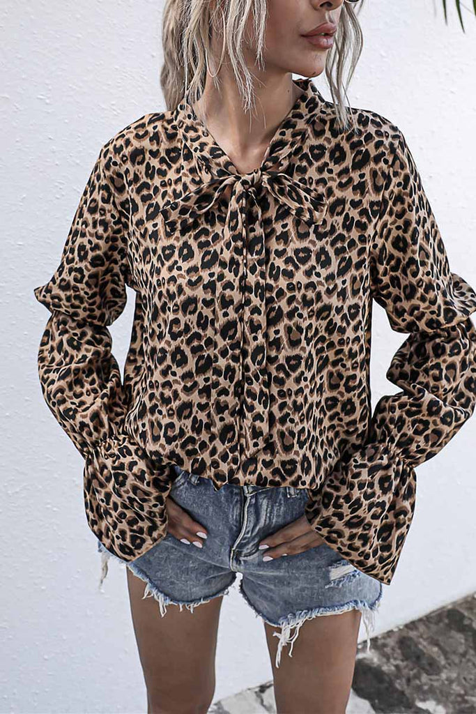 Florcoo Leopard Print Long-Sleeved Bow Top
