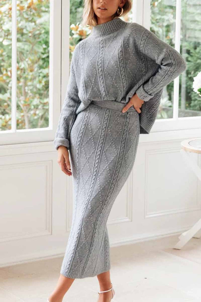 Florcoo Knit Sweater Skirt Suit