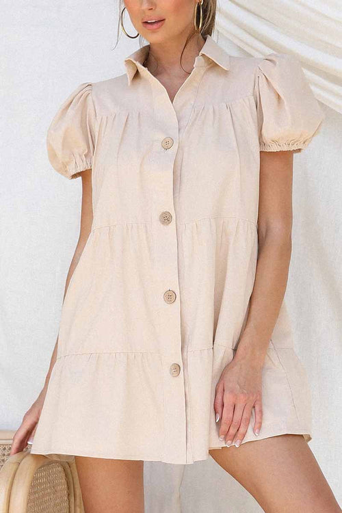 Florcoo Loose Lantern Sleeve Pleated Single Breasted Mini Dress