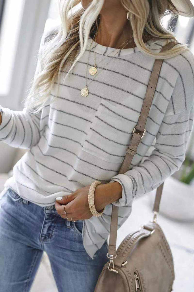 Florcoo Striped Long Sleeve T-shirt With Pocket