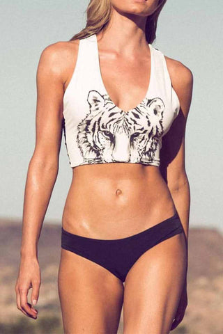 Florcoo Two-piece Leopard Print Hollow Split Triangle Bikini