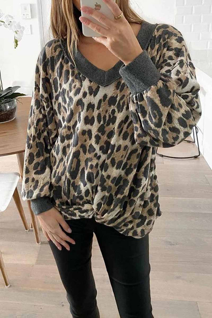 Florcoo V-neck Long Sleeve Leopard Print Pullover Tops