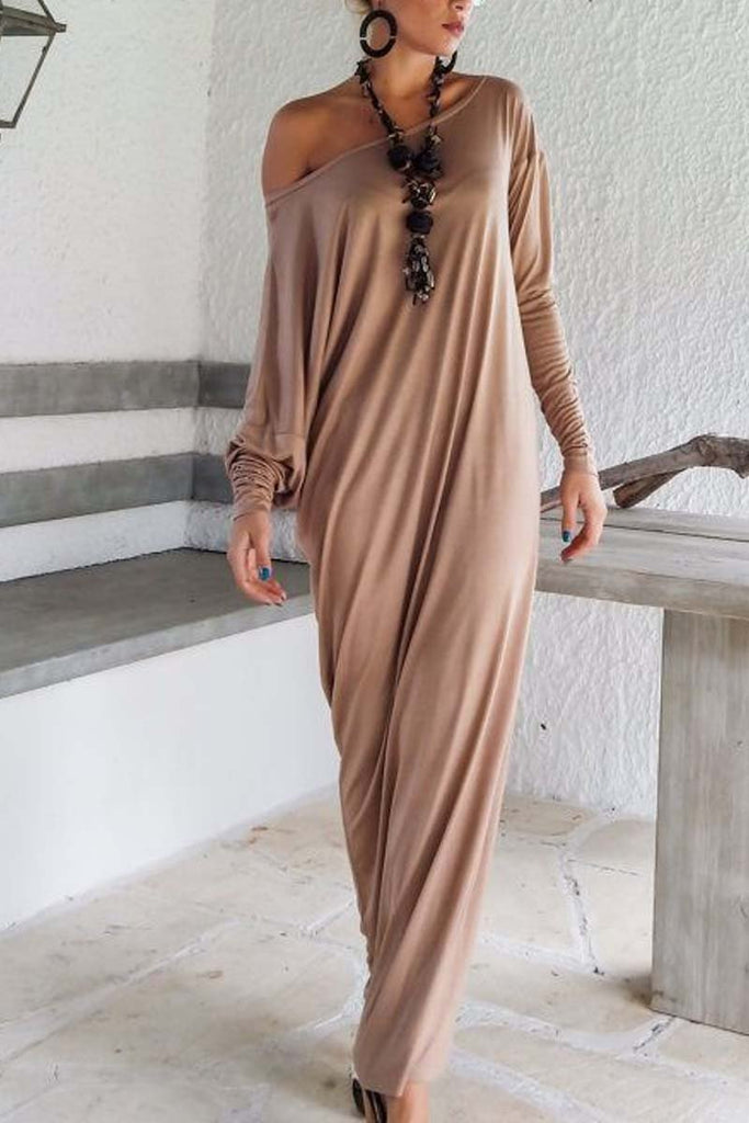 Florcoo Slim Solid Color Maxi Dress