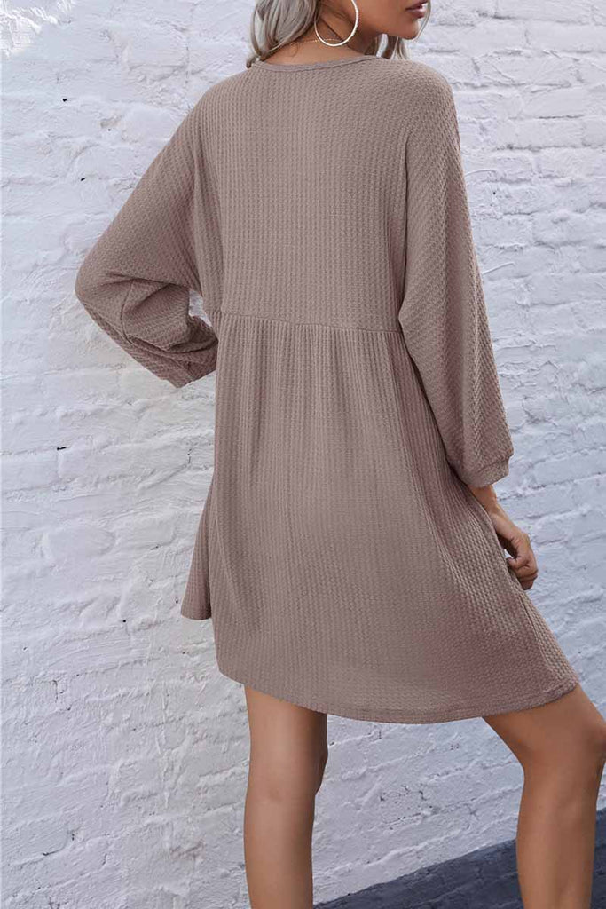 Florcoo V-Neck Buttoned Loose Knit Hem Mini Dresses