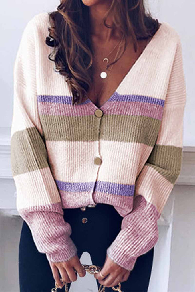 Florcoo Long Sleeve V Neck Color-Block Sweater
