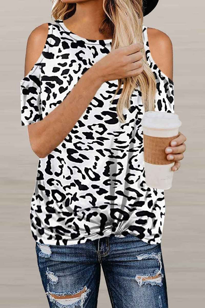 Florcoo Off-Shoulder Leopard Print T-Shirt ( 2 Colors )