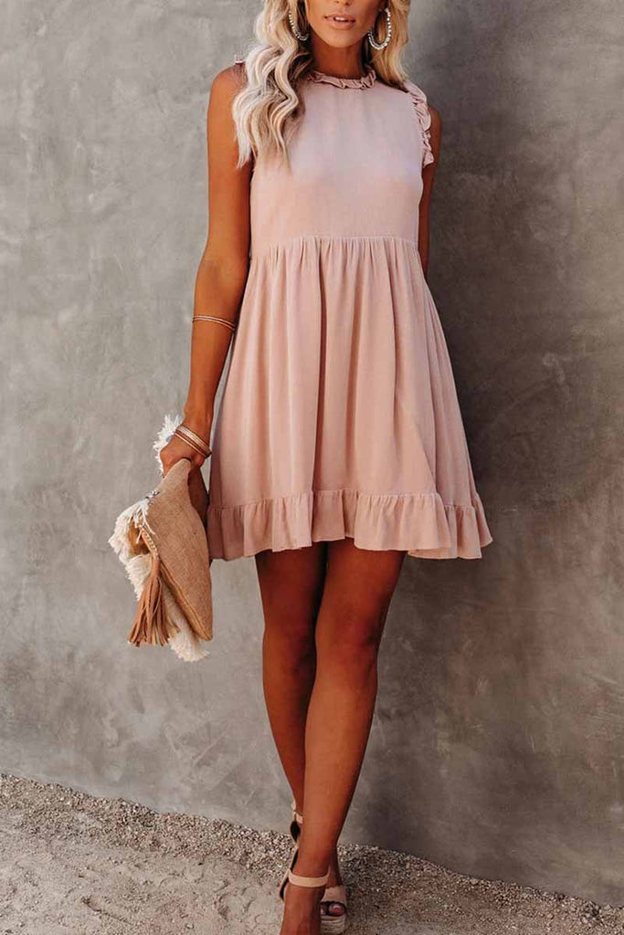 Florcoo Solid Color Ruffled Waist Mini Dress