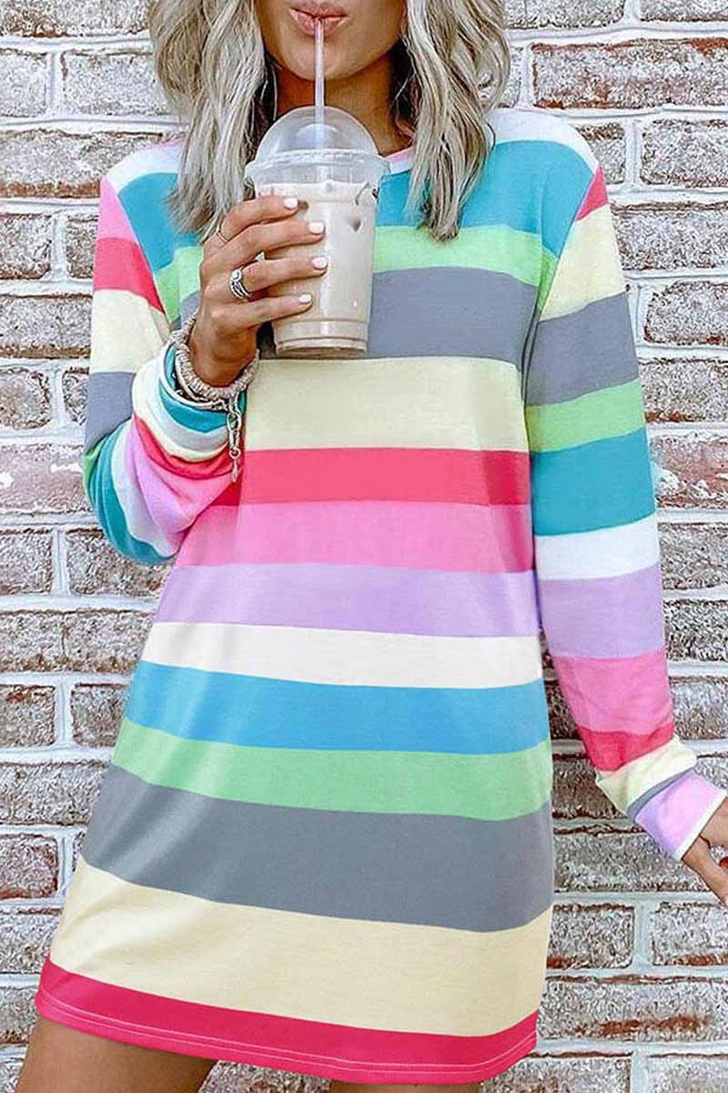 Florcoo Rainbow Long Sleeve Stripes Mini Dresses