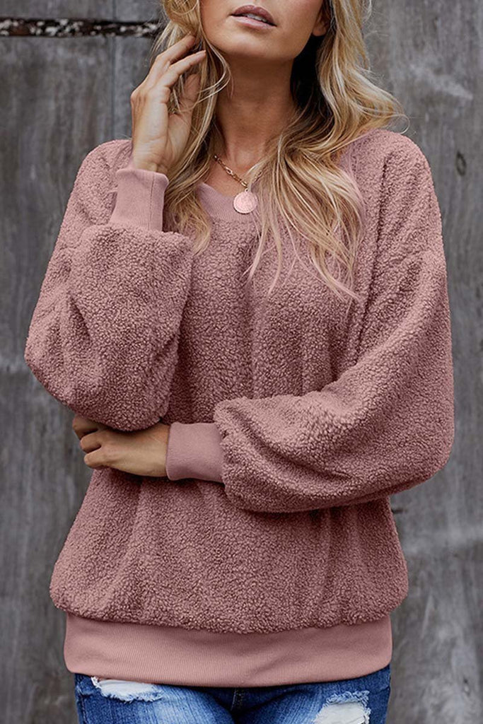 Florcoo Teddy Plush Sweater Casual Tops