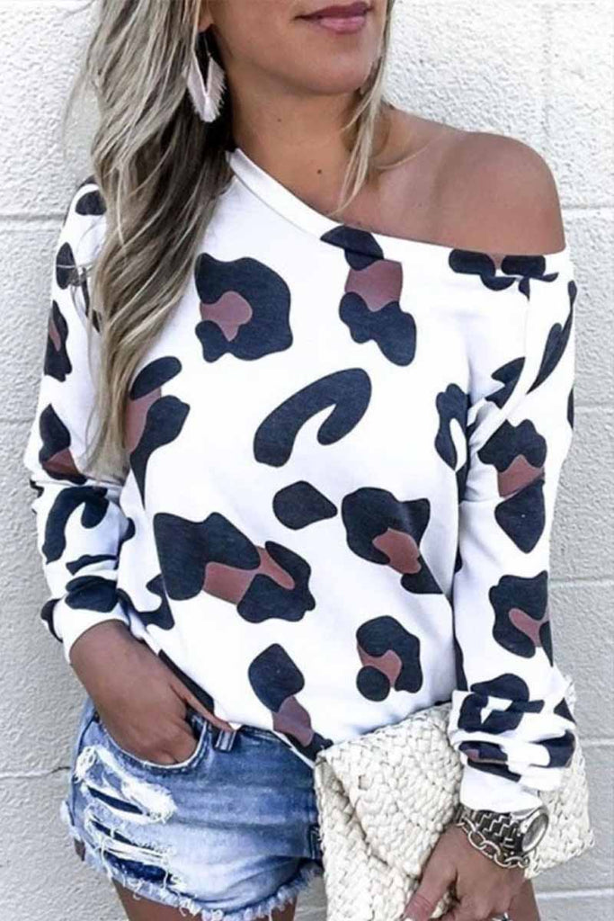 Florcoo Sexy Off Shoulder Leopard O-Neck Top