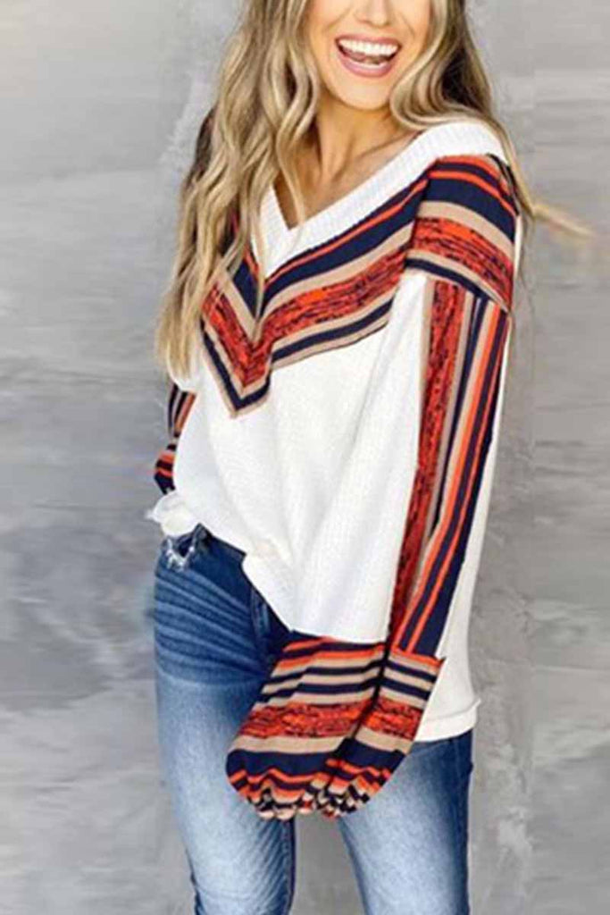 Florcoo Loose V-neck Contrast Striped Top