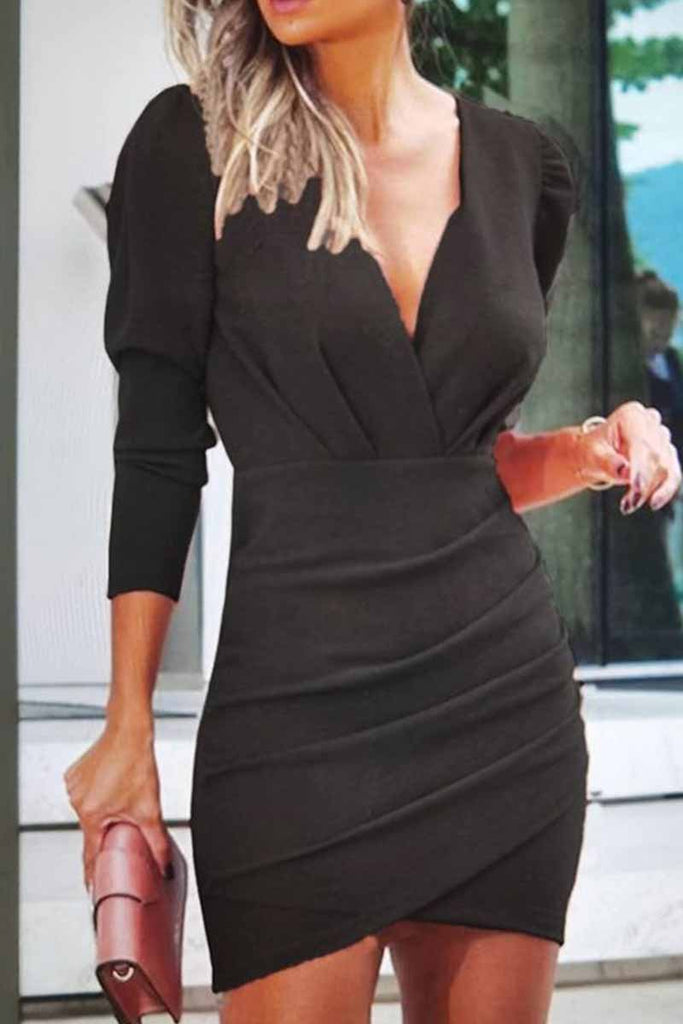 Florcoo Solid Color V-Neck Long Sleeves Mini Dresses
