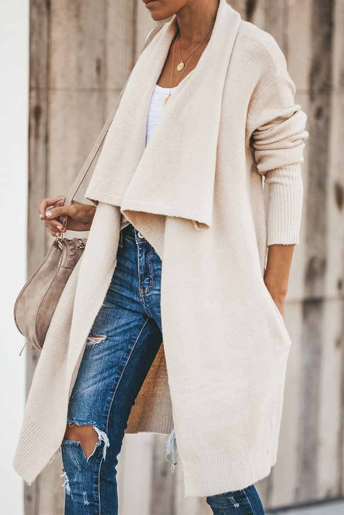 Florcoo Pure Color Casual Loose Coat